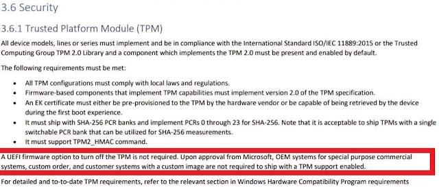 """لن يكون TPM إلزاميًا على الأجهزة """"المخصصة"""" لتثبيت Windows 11"""