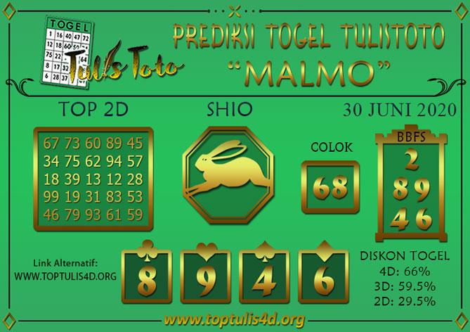 Prediksi Togel MALMO TULISTOTO 30 JUNI 2020