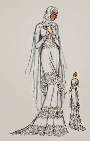 Model gaun pengantin muslim wanita modern