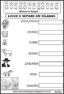 Separando em sílabas, desenhos com Z