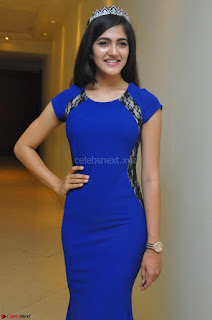 Simran Chowdary Winner of Miss India Telangana 2017 in a Blue Sleeveless Evening Gown Cute Beauty