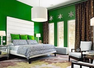 Contoh gambar kamar tidur nuansa hijau tua
