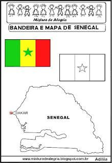 Bandeira e mapa de Senegal
