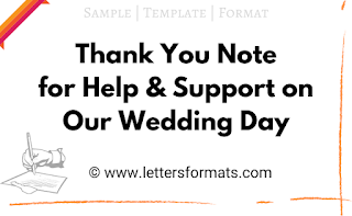 thank you for your support on my wedding day