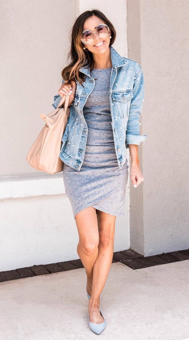 what to wear with a denim jacket : blush bag + grey dress + flats