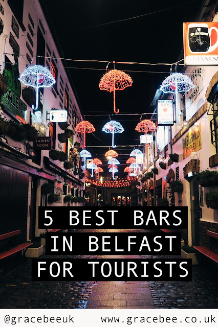 "outside the duke of york pub in belfast. Below the image the text reads ""5 best bars in belfast for tourists"""
