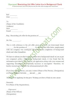 sample rescind job offer letter due to background check