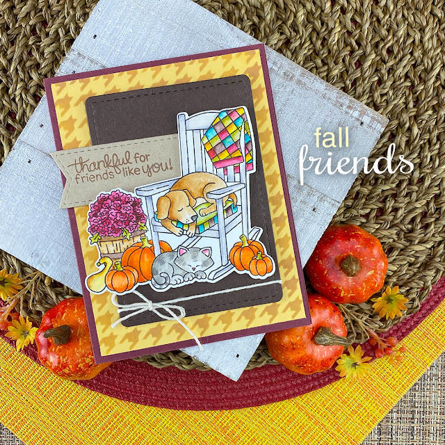 Fall Dog & Cat Porch Card by Jennifer Jackson | Fall Friends Stamp Set, Houndstooth Stencil and Frames & Flags Die Set by Newton's Nook Designs #newtonsnook