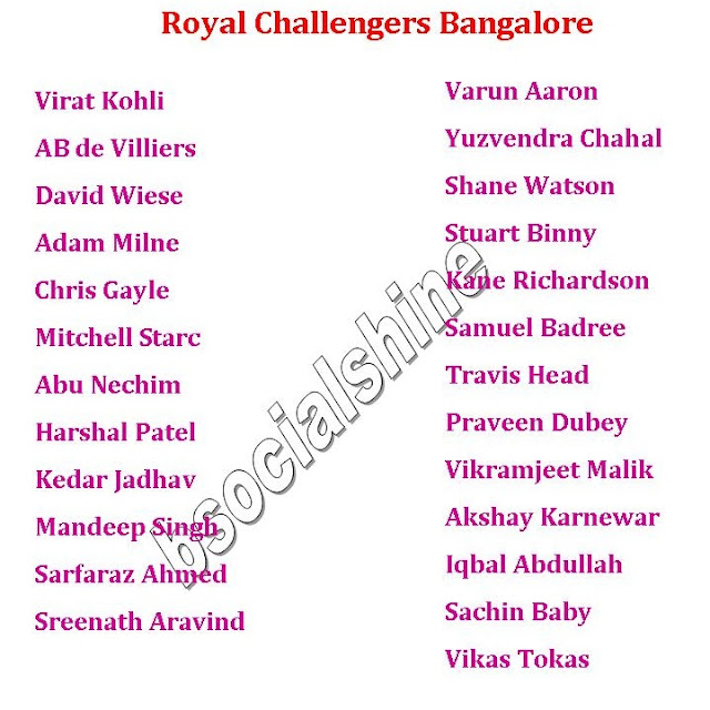 IPL 9 2016 All Team Squad Players List (Final Confirmed),Vivo IPL 9 2016 all team player list.,ipl 9 final player list,ipl 2016 all team squads,player list,latest player list,ipl player list,all team squad,list after auction,2016 ipl player list,ipl 9 team squad,ipl 9 2016 schedule,ipl 9 all teams,Gujarat Lions,Mumbai Indians,Royal Challengers Bangalore,Kolkata Knight Riders,Delhi Daredevils,Kings XI Punjab,Sunrisers Hyderabad,Rising Pune Warriors Vivo IPL 9 2016 all team player list..  Click here for more detail..   Gujarat Lions Team Squad Mumbai Indians Team Squad  Royal Challengers Bangalore Team Squad Kolkata Knight Riders Team Squad Delhi Daredevils Team Squad Kings XI Punjab Team Squad Sunrisers Hyderabad Team Squad Rising Pune Warriors Team Squad