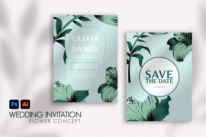 Flower Vintage Wedding Invitation