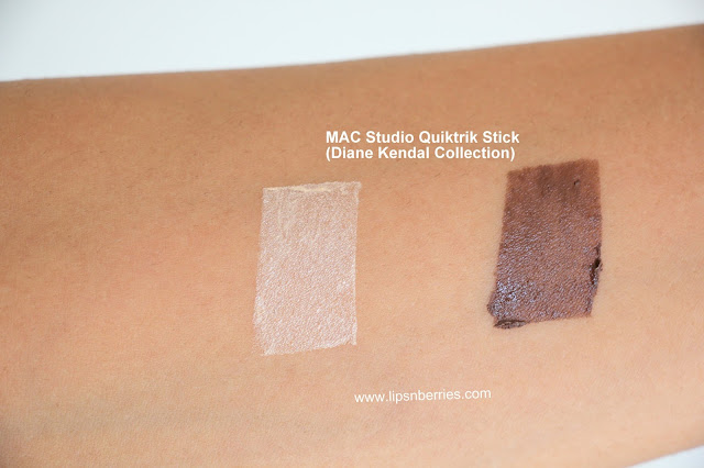 MAC Quiktrik stick swatches on indian skin