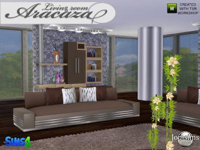Aracaza living Room Гостиная Aracaza для The Sims 4 Современность и комфорт присутствуют в этом наборе. 1 диван 4 цвета и металл. 1 журнальный столик 4 цвета и металл. 1 разная поверхность деко для стены 4 цвета и wodd и металлическая колонна. 1 разная поверхность 2 4 цвета и дерево. 1 большая металлическая колонна деко. 1 потолочный светильник металлический. 1 столовое растение с цветами, ваза из дерева и цветов 4 цвета. 4 подушки для дивана 4 разных цвета. 1 картина бамбука х 3. 1 декоративный поднос и кувшин в 3 цветах блестящие. Автор: jomsims