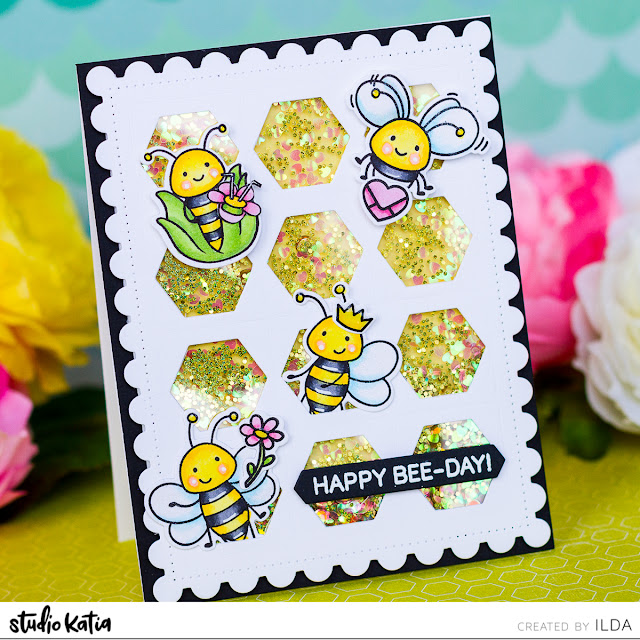 Queen Bee Birthday Shaker Card | Studio Katia