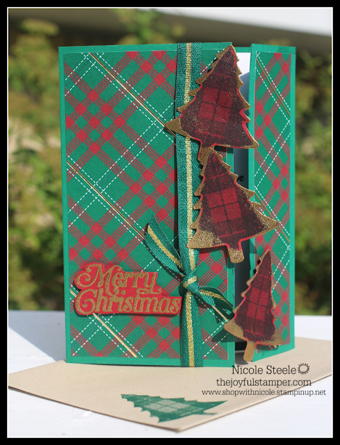 Gate fold card using Stampin' Up!'s Perfectly Plaid bundle by Nicole Steele The Joyful Stamper
