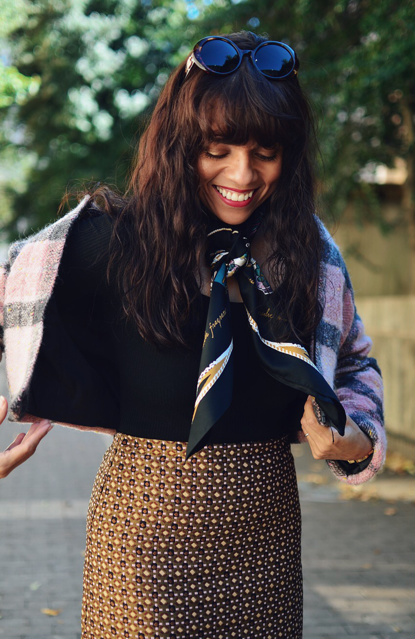 Outfit with oversized silk scarf