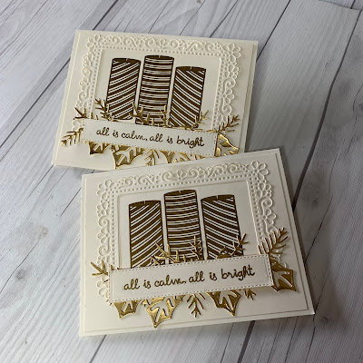 Sophisticated Christmas Cards using ornate die cut borders and gold foil die cuts and embossed images