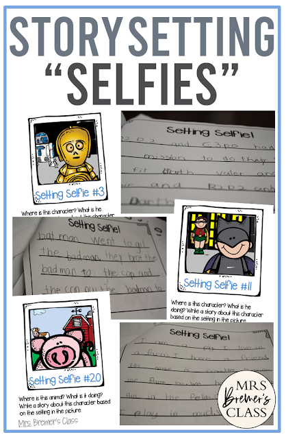 Teach about the story setting using selfies! Students look at the picture & where it's taken and write a story about it. Writing activity for 1st & 2nd Grade