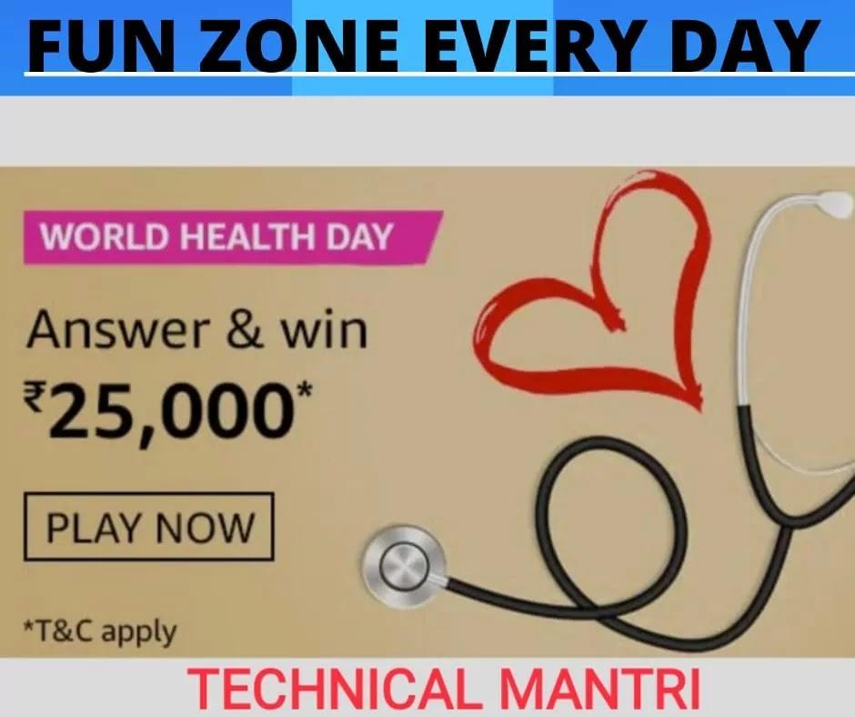 World Health Day Amazon Quiz Answer -yourexpectation.com