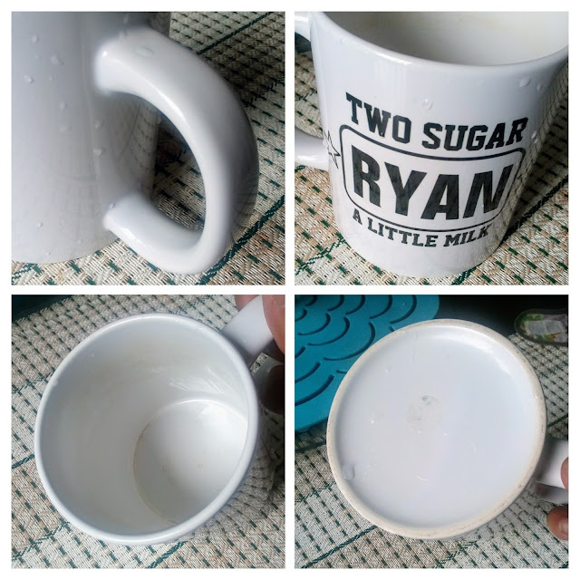 """Funny Coffee Type Mug - A four picture collage of a funny coffee mug that says """"Ryan, two sugar with a little milk."""""""