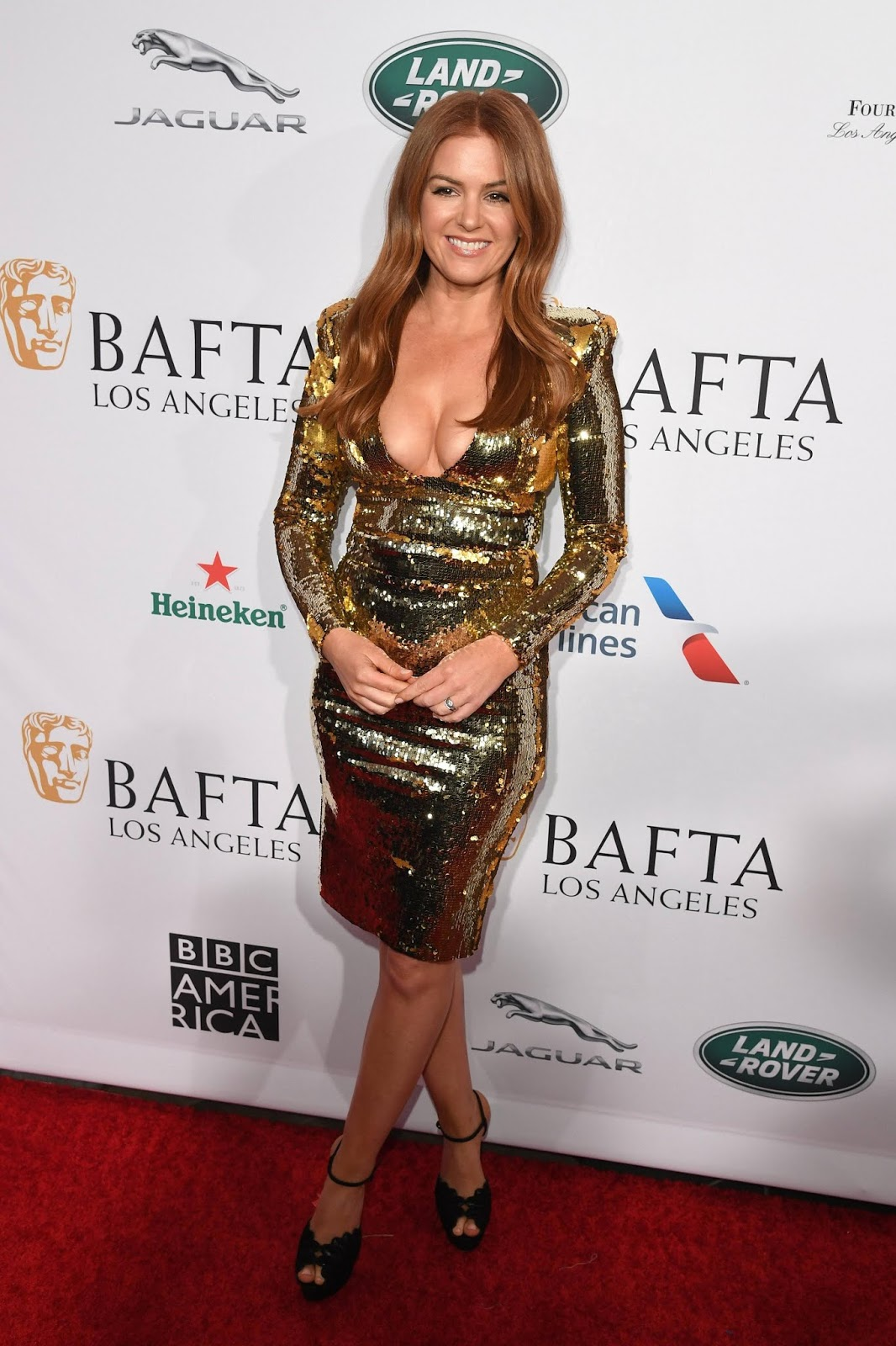 Isla Fisher Goes Back to Red Hair for BAFTA Tea Party After Rocking Blonde Wig