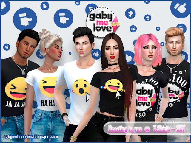 Reacting to you ☻ T-Shirts ~ SET - Gabymelove Sims