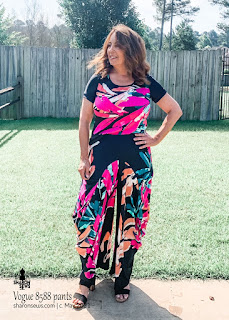 Vogue 8588 Side Drape Pants with Big Pockets  and Cashmerette Concord Tee n Floral Knit worn by Sharon Sews