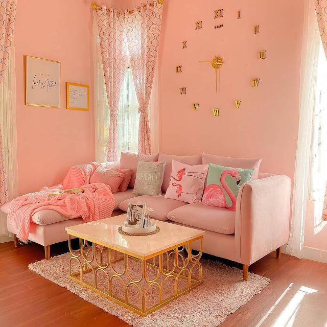 Ruang Tamu Minimalis Nuansa Pink Terbaru