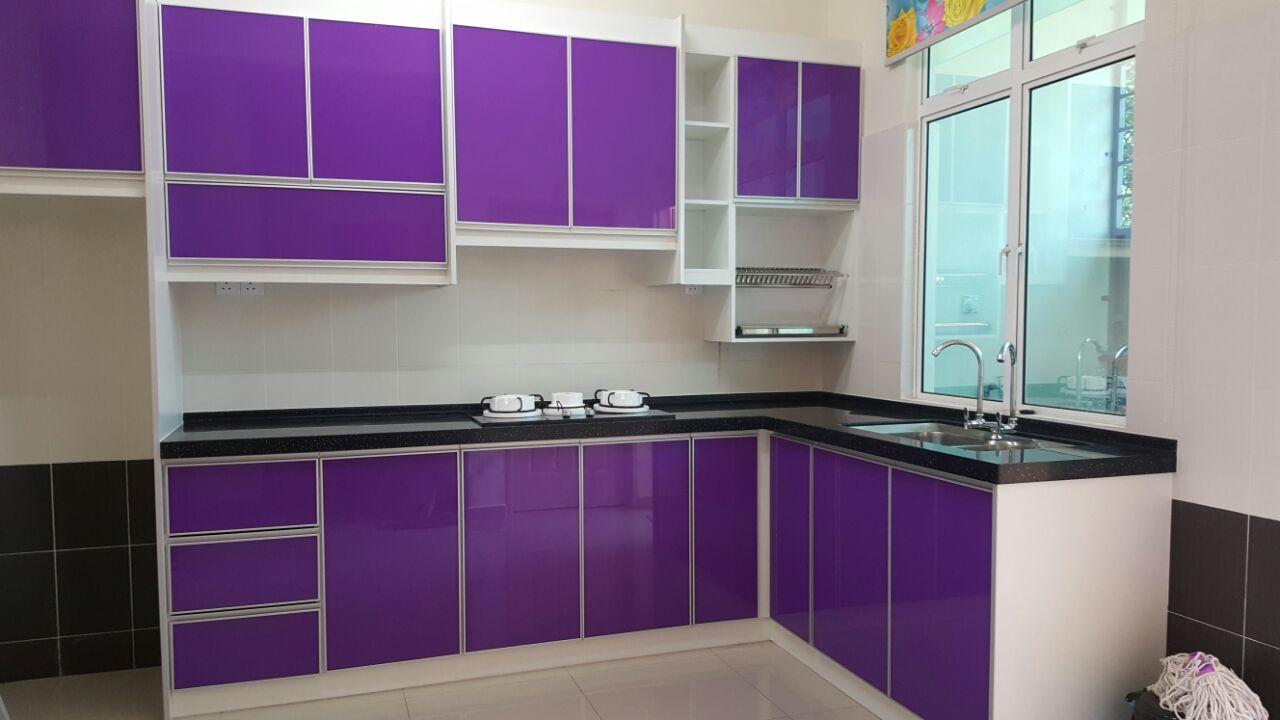 Kabinet dapur terus dari kilang kabinet dapur ungu di for Pemasangan kitchen set