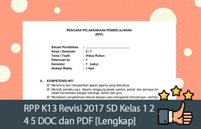 RPP K13 Revisi 2017 SD Kelas 1 2 4 5 DOC dan PDF [Lengkap]