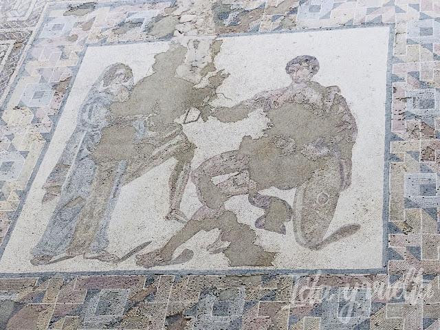 Parque Arquelógico de Carranque mosaico de Aquiles y Briseida