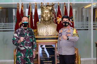 Sinergitas TNI-POLRI, Kapolda Irjen Merdisyam Kunjungi Kodam XIV Hasanuddin