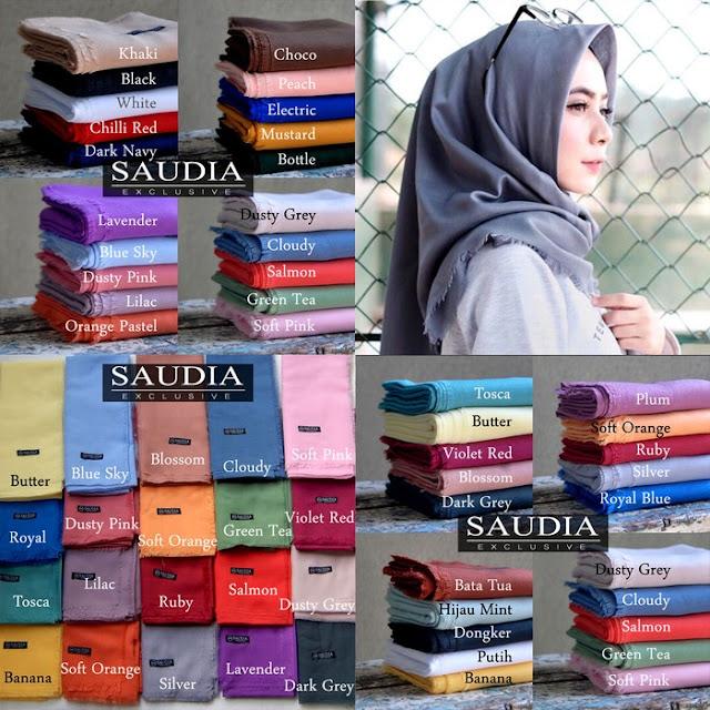 Jilbab Segi Empat Saudia Rawis katun premium Murah