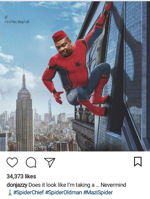 Funny photo of Don jazzy in Spiderman suit