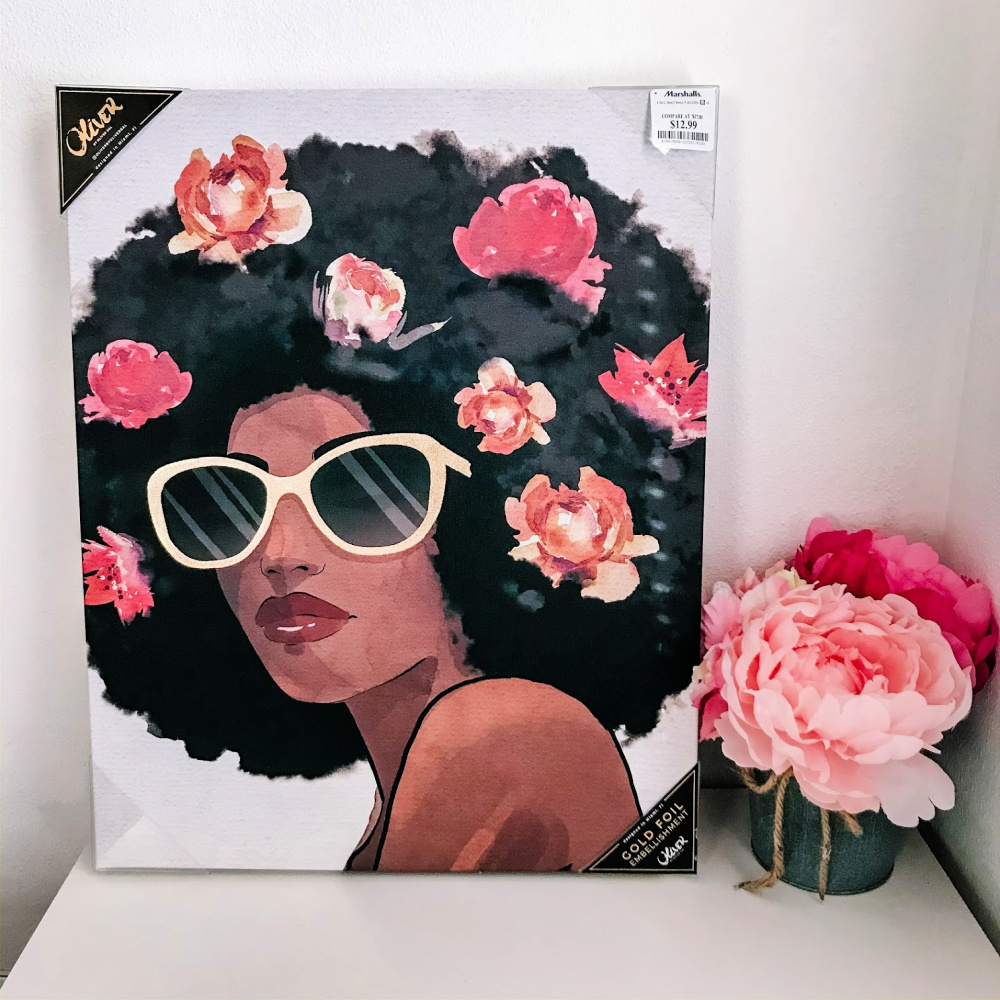 wall art picture of an African american woman with an Afro
