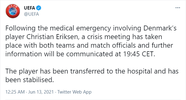 UEFA confirms that Christian Eriksen has been stabilised and has been taken to hospital