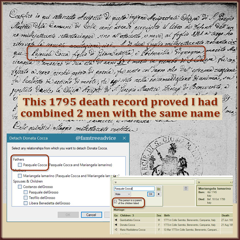Two different death records, with two different wives, made it clear I'd merged two men.