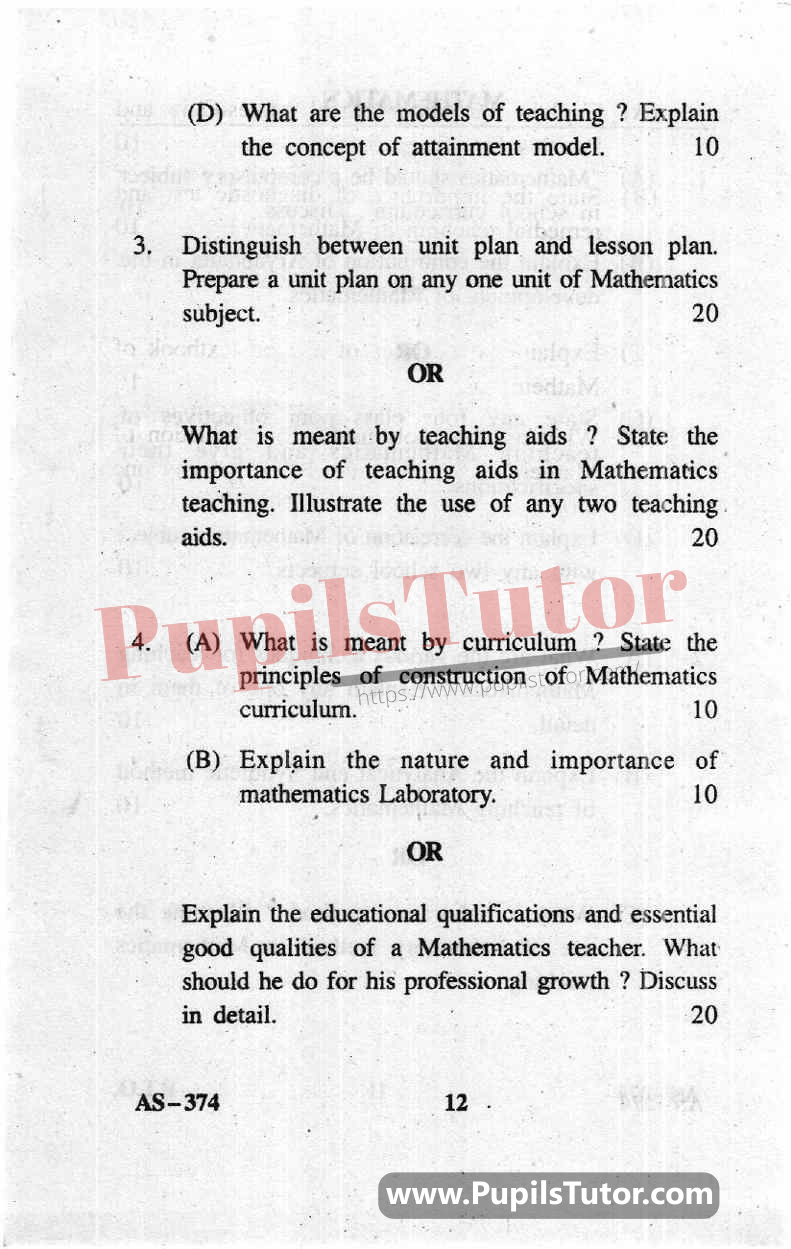 Teaching Of Math Question Paper In English
