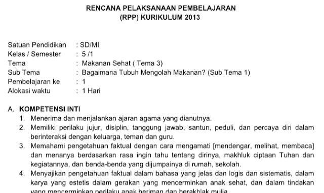 Rpp Kelas 5 Tema 3 Kurikulum 2013 Revisi 2018 Materiku