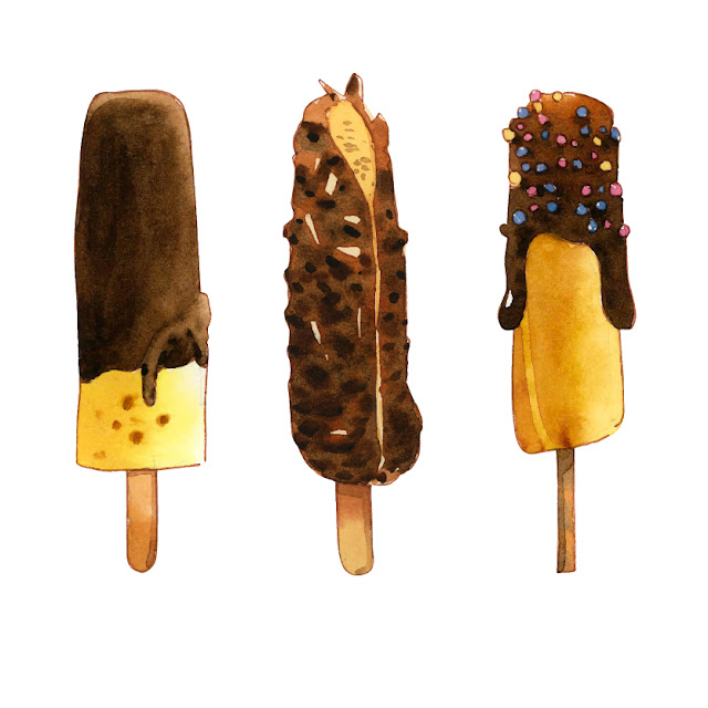 Chocolate and Vanilla Ice Cream Water Color illustration