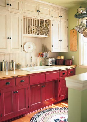 Faith And Pearl Red Farmhouse Kitchen