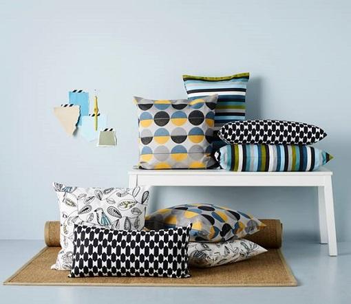 textiles Ikea cojines geométricos