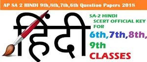 AP SA2 HINDI Model Question Papers 2018 for 9th,8th,7th,6th Classes
