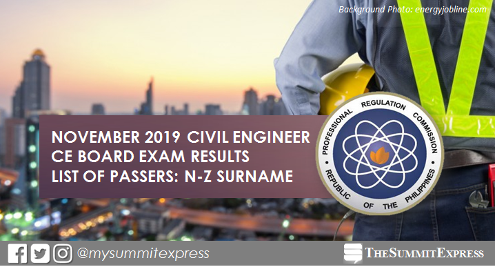 LIST OF PASSERS: N-Z November 2019 Civil Engineer CE board exam results