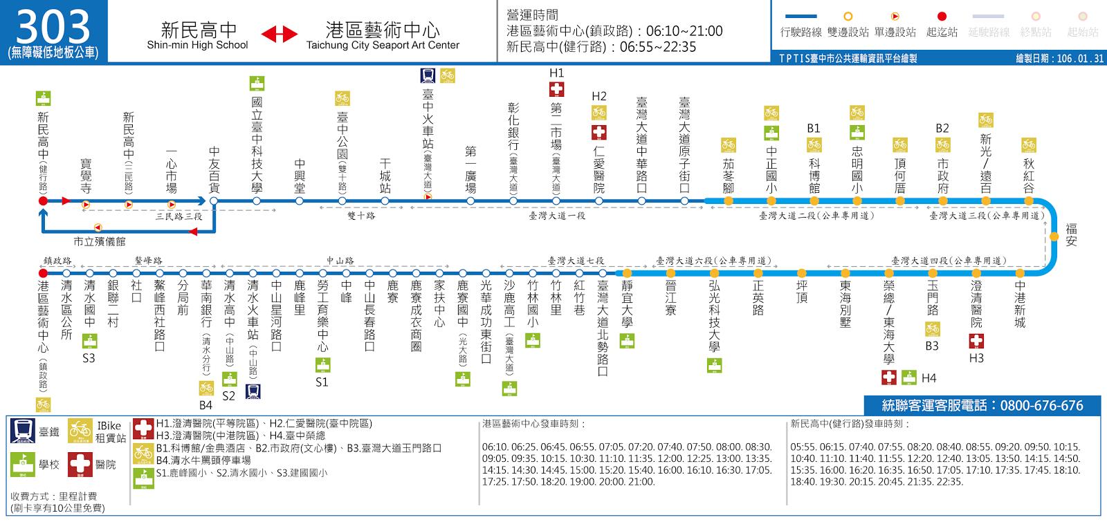 臺中市公共運輸資訊平臺: 303路(原83路,藍12路):新民高中-港區藝術中心