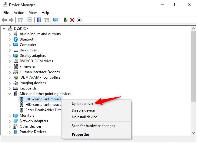 تحديث برامج تشغيل جهاز الماوس في إدارة الأجهزة