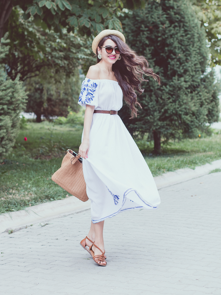fashion-blogger-off-shoulder-dress-white-bright-lips-asos-bag-hm-hat