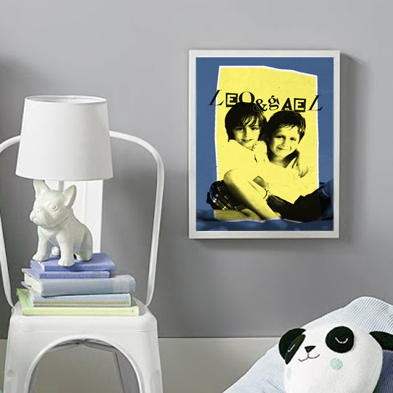 deco ideas, framed customized kids photo portraits