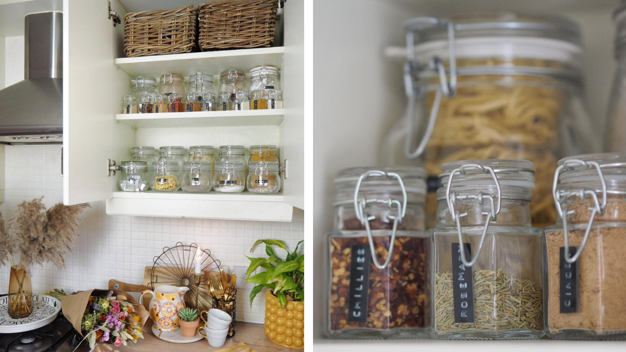 How to create a mini pantry within your kitchen - storage jar inspiration and how to organise dried food within your kitchen cupboards, even if you've only got a small kitchen. Organisational storage tips for small homes.