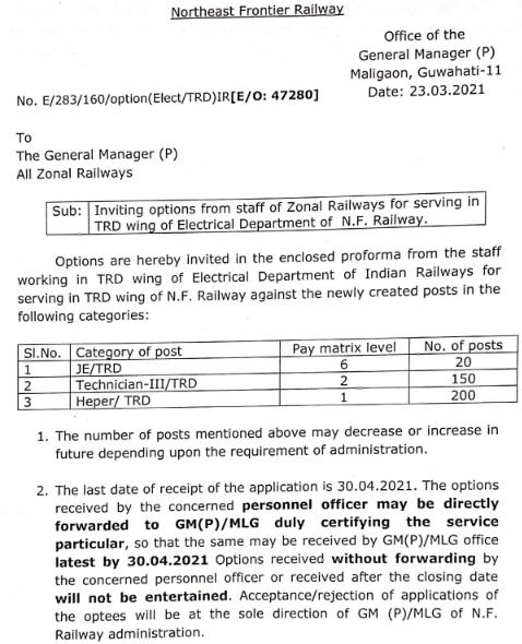 NFR JE Recruitment 2021 Apply Offline