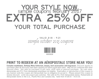 Aeropostale coupons for february 2017
